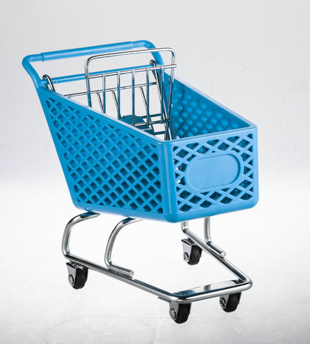 Wheeled shopping trolley With metal base and back gate in chrome plated