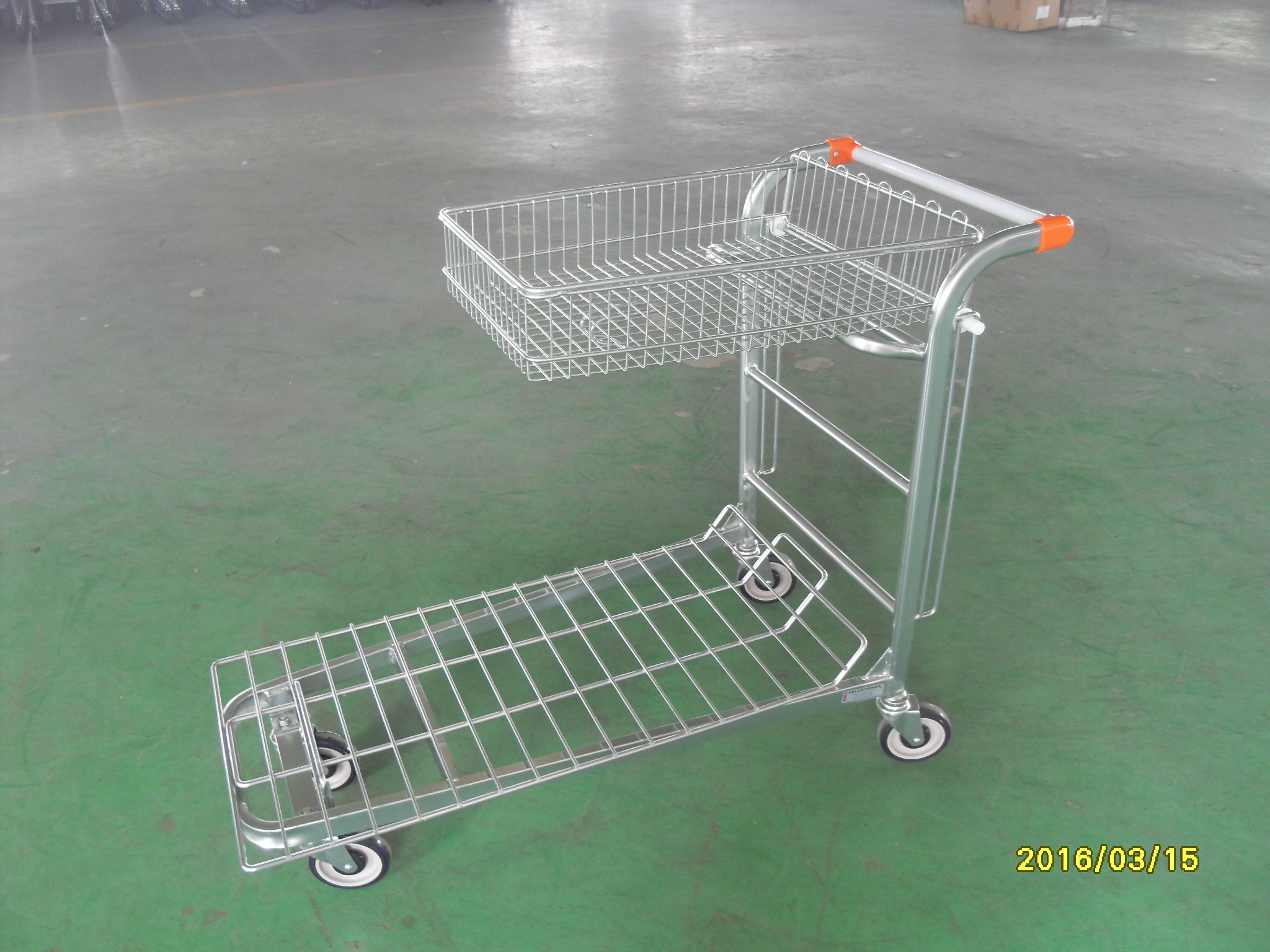 Supermarket Warehouse Trolley cart with square steel tube base and logo on handle