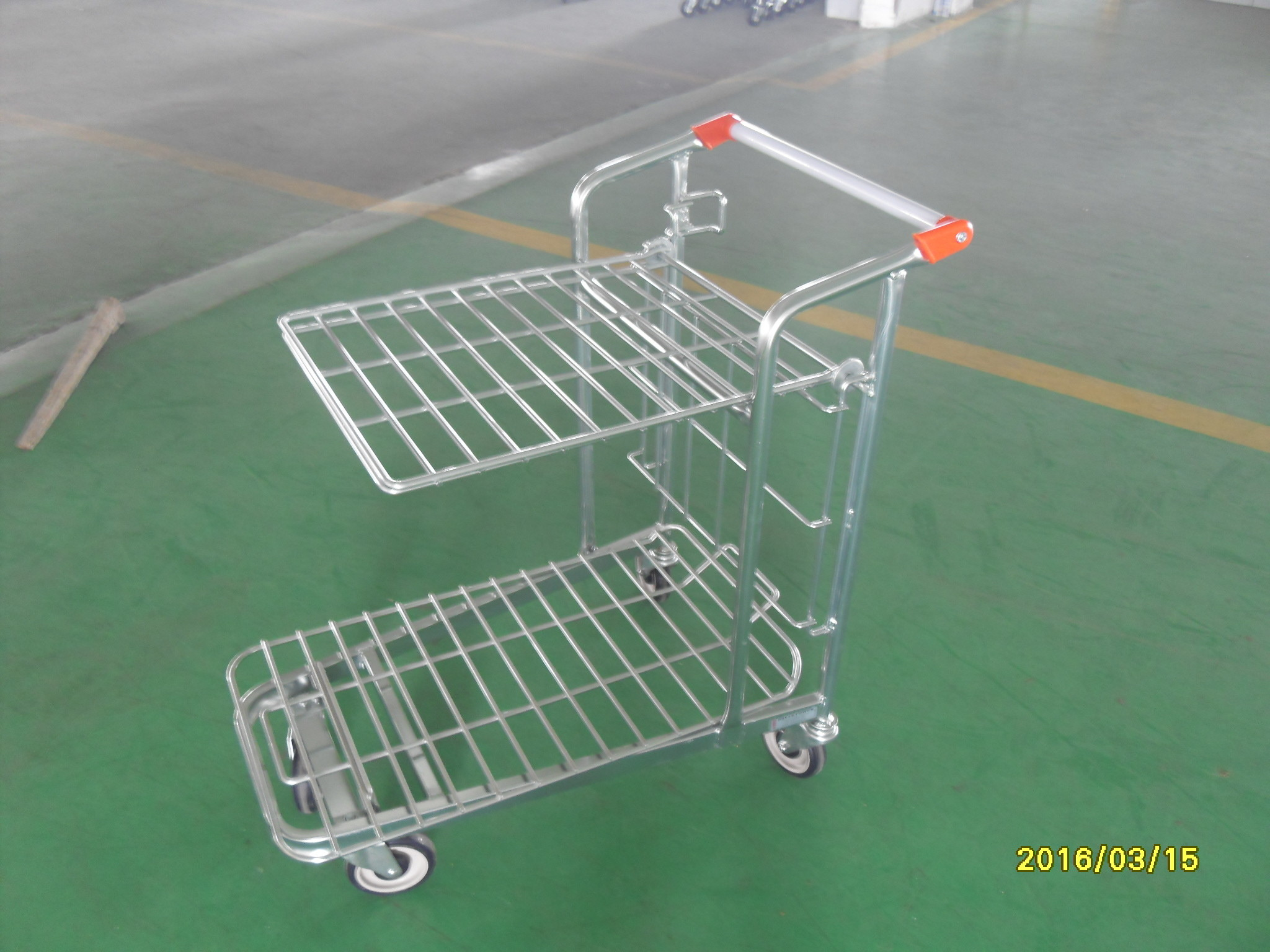 Retail Store supermarket Warehouse Cargo Trolley with 5 inch swivel flat TPE casters