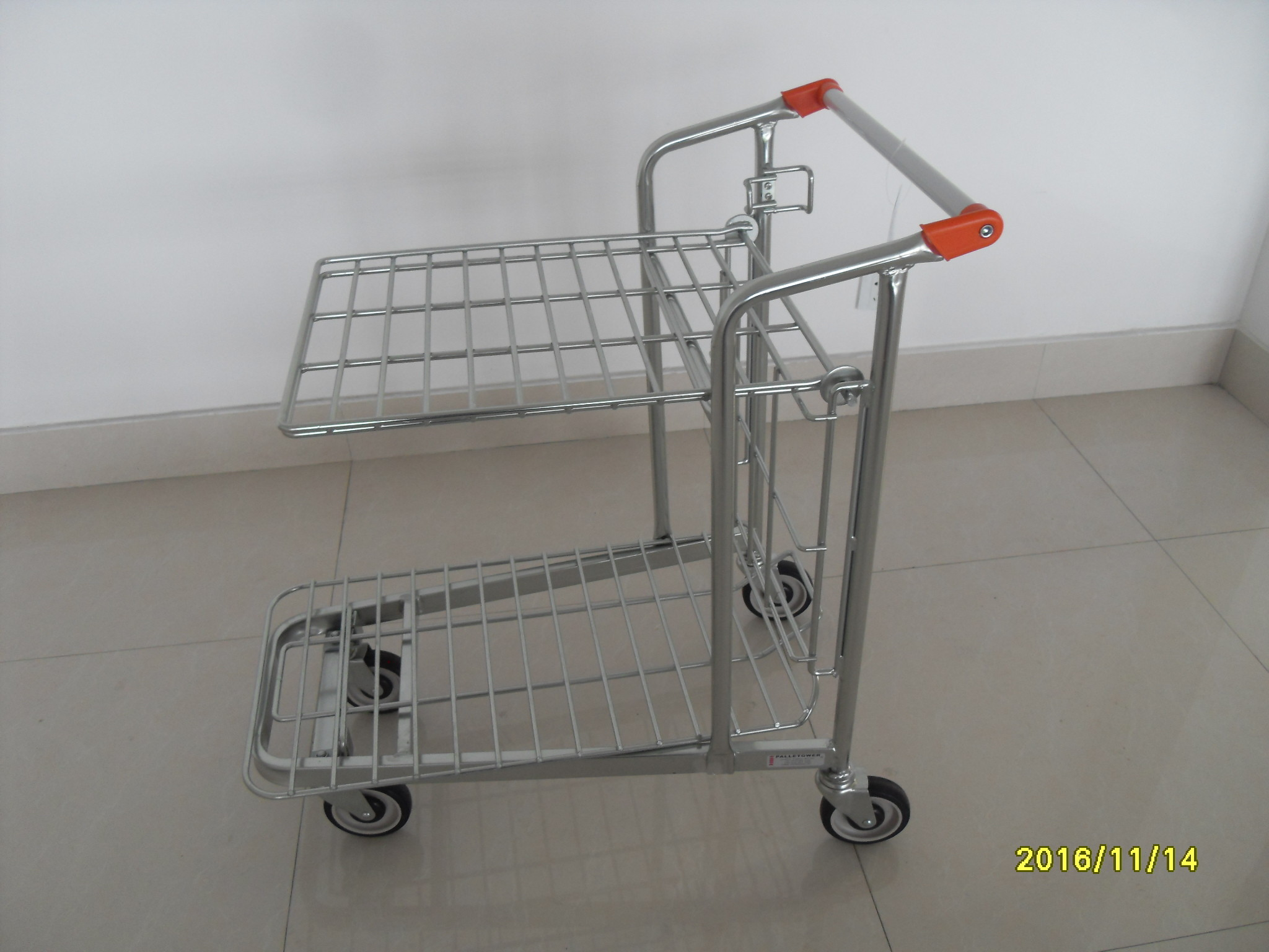 Store Supermarket Warehouse Trolley With Handle Logo Printing