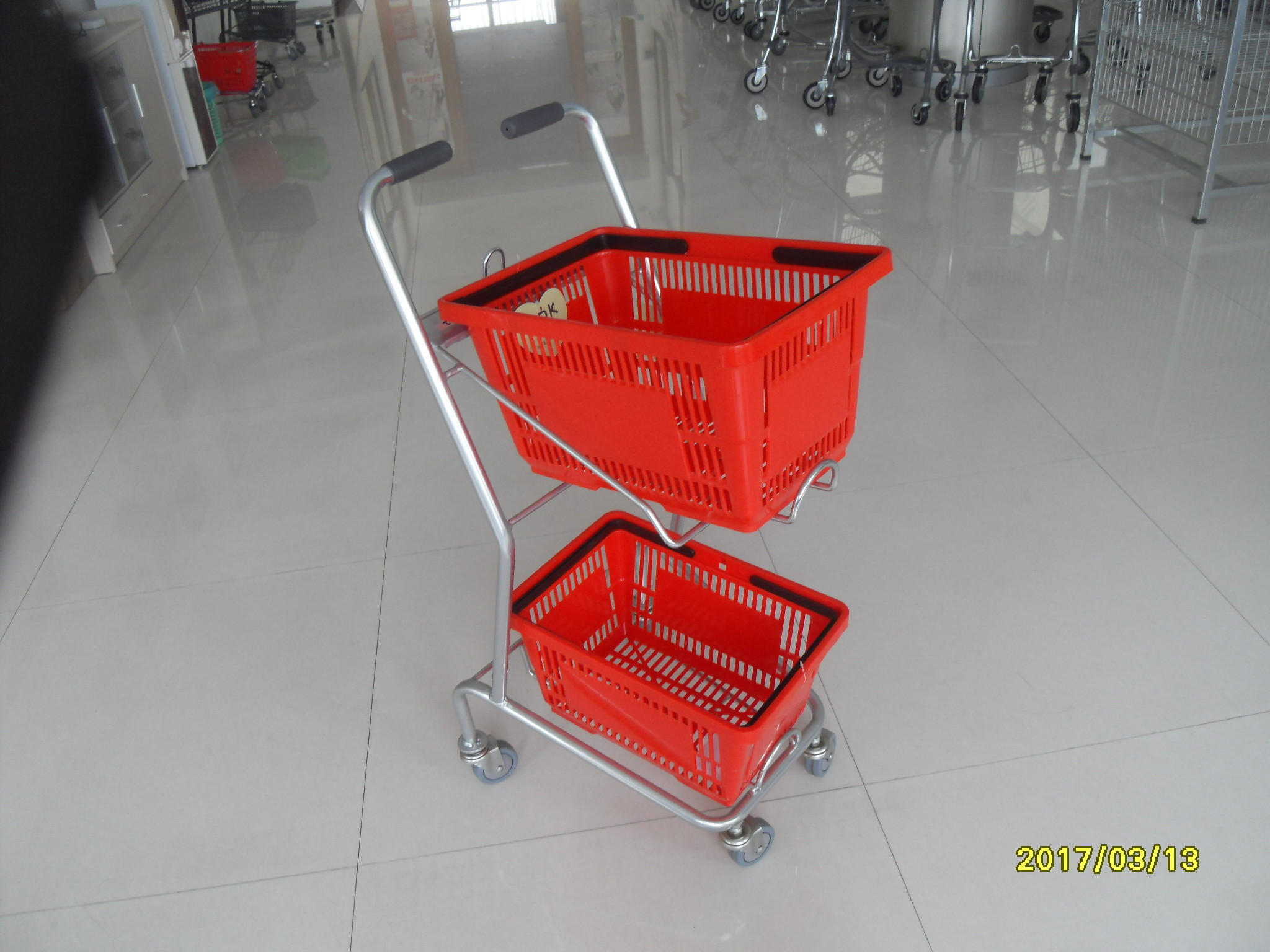 Supermarket Steel Wheeled Shopping Basket With 3 inch PVC / PU / TPR Wheel