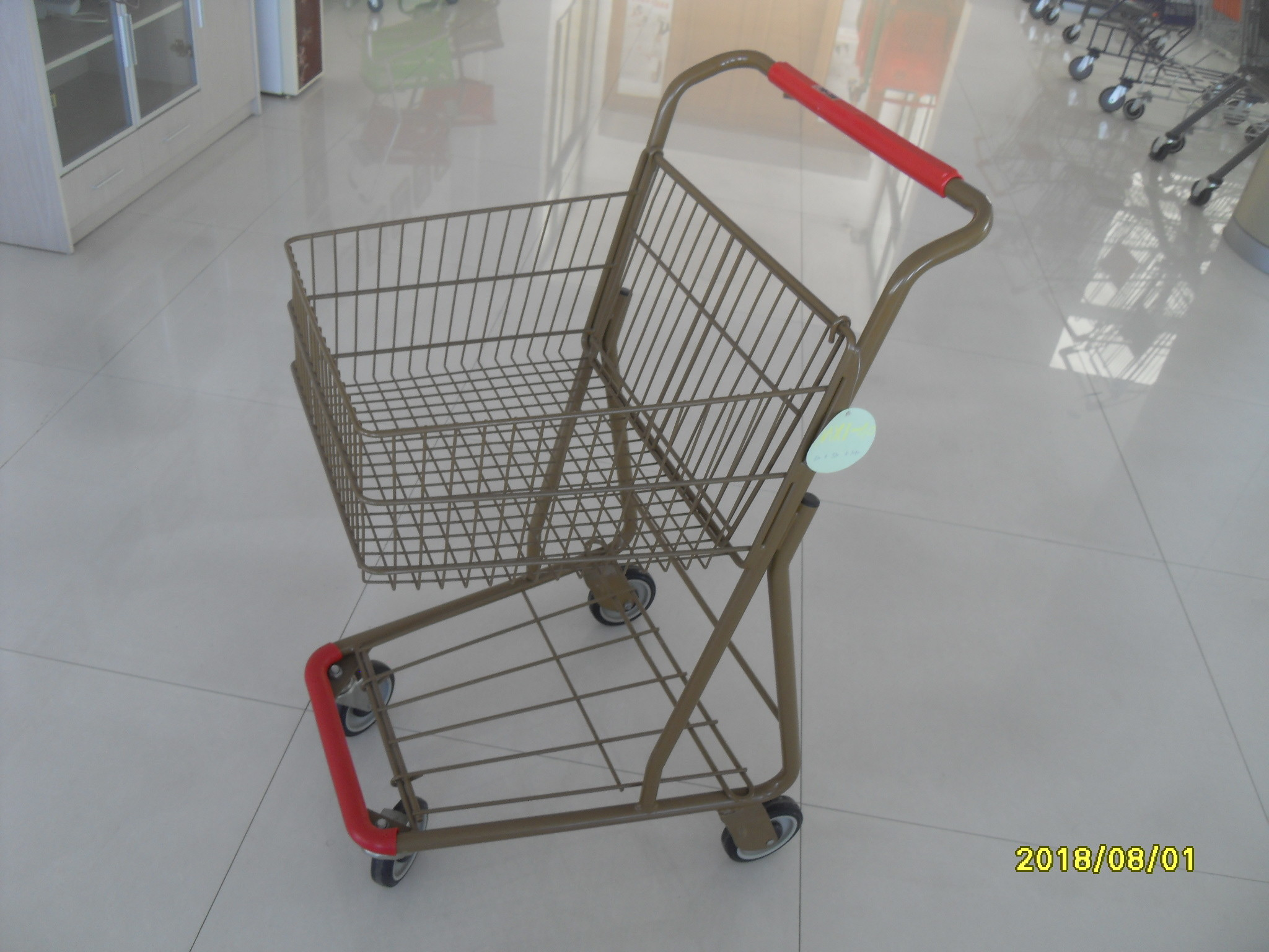 40L Folding Grocery Shopping Trolley Q195 Low Carbon Steel For Supermarket