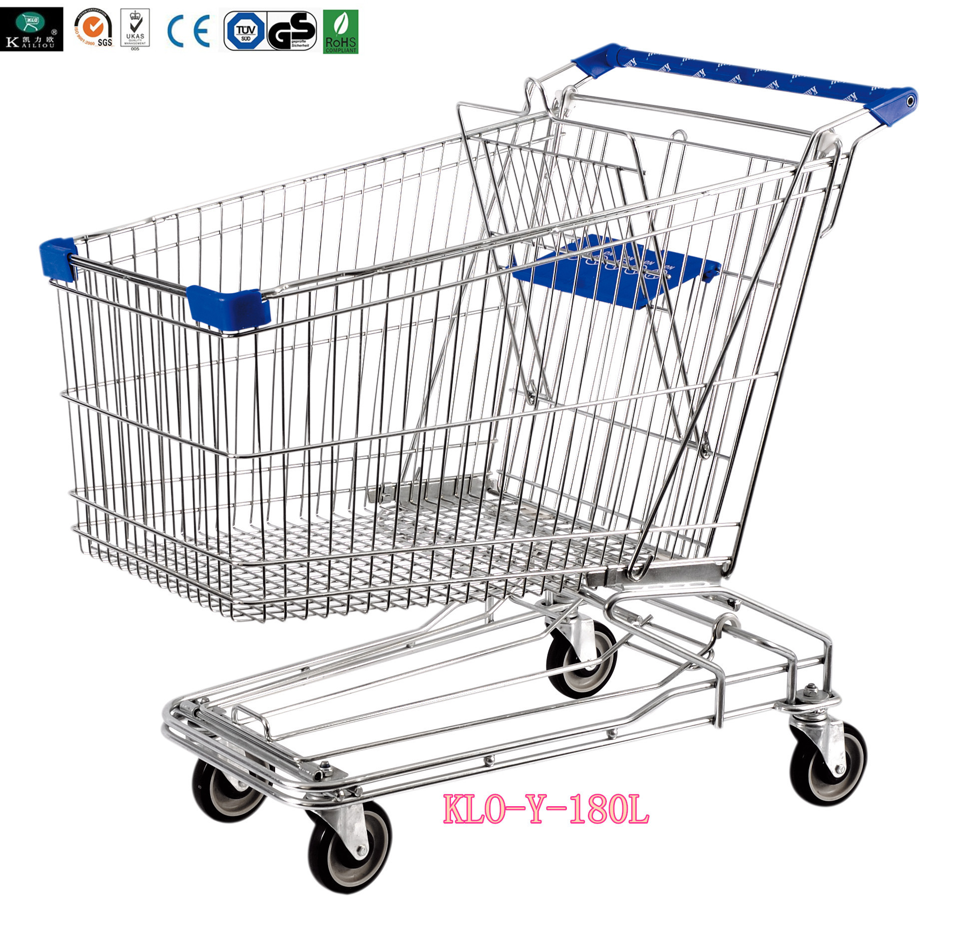 Asian Style 180liter Steel Wire Shopping Trolleys with swivel casters
