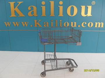Wire foldable basket shopping trolleys for disabled , 4 swivel flat casters