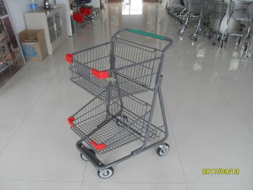 Trung Quốc Two Layer Basket Wire 4 Wheel Shopping Trolley / Cart With Color Poweder Coating nhà máy sản xuất