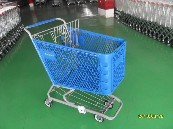 Durable Grocery Shopping cart trolley With welded low tray and 4x4inch swivel lfat casters