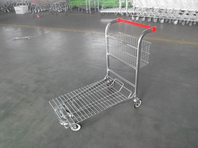 Cargo Warehouse Trolley 4 Swivel flat casters with Platfrom and foldable baskets